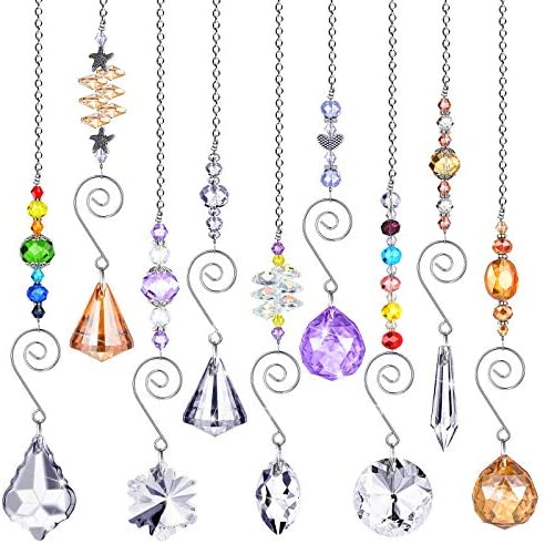 9 Pieces Crystals Sun Catcher Hanging Suncatchers Beads Colorful Crystal Chandelier Pendant product image
