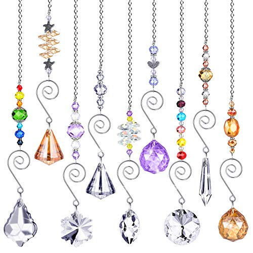 9 Pieces Crystals Sun Catcher Hanging Suncatchers Beads Colorful Crystal Chandelier Pendant Wall Hanging Tree Window Prism Ornament for Home Wedding Plants Cars Decoration