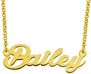 Bailey Name Necklace Custom Personalized in Gold Plate Gift for Women Girls Couple
