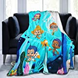 GIPHOJO Soft Micro Fleece Blanket Bubble Guppies Plush Throws Blanket for Children Kids Boys Girls for Bed Sofa Couch Chair Lightweight for All Season Gift 50'X40'