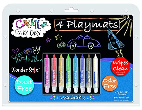 The Pencil Grip 8.5 x 12 Inch Playmat Kit, Includes 4 Black Board Placemats and 8 Piece Wonder Stix (TPG-648), Assorted