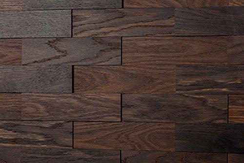 wodewa Wandverkleidung Holz 3D Optik Eiche Tabak 1m² Wandpaneele Moderne Wanddekoration Holzverkleidung Holzwand Wohnzimmer Küche Schlafzimmer