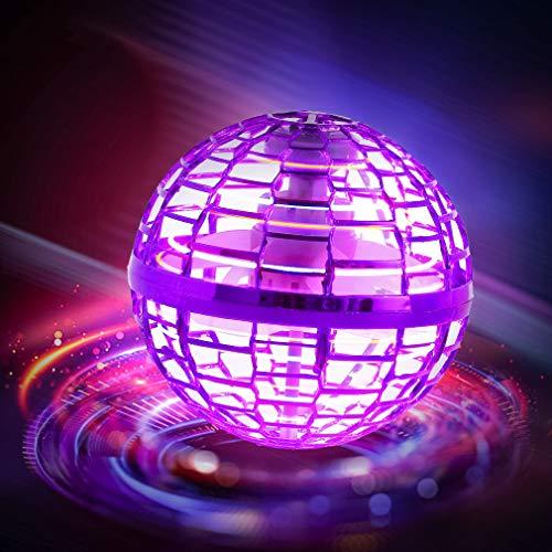 Fliegendes Spielzeug, Kugelform Magischer Controller Mini Drohne Flugspielzeuge Fliegender Spinner 360° Drehbare Rotierende LED Leuchten für Kinder Erwachsene (Rosa)