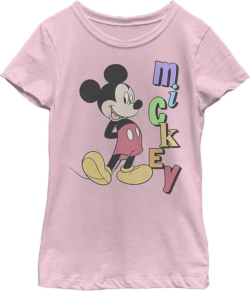 Disney Characters Mickey Name Girl's Solid Crew Tee