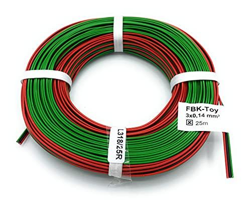 BELI-BECO L318/25 Kabel - Kupferlitze 3 x 0,14 mm² (1x18x0,10 mm) - Drillingsleitung - 25 m Ring (Roco-Farben: Rot-Schwarz-Grün)