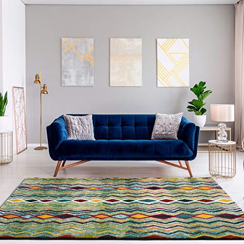 Universal Alfombra étnica Zaria Zigzag Multicolor, 100% Polipropileno Heat-Set Frise, 80 x 150 cm