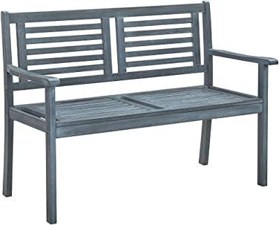 vidaXL Solid Eucalyptus Wood 2-Seater Garden Bench Wooden Outdoor Patio Backyard Terrace Lounge Seating Seat Sitting Chair Furniture 120 cm Grey