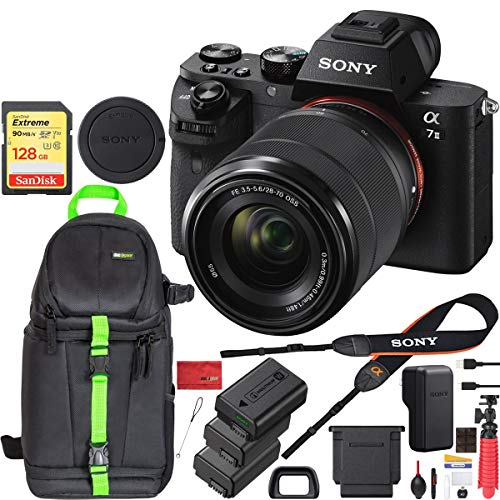 Sony a7 II Full-Frame Alpha Mirrorless Digital Camera a7II ILCE-7M2/K with FE 28-70mm F3.5-5.6 OSS Lens and SanDisk 128GB SDXC Memory Card 2X Extra Battery Deluxe Backpack Bundle