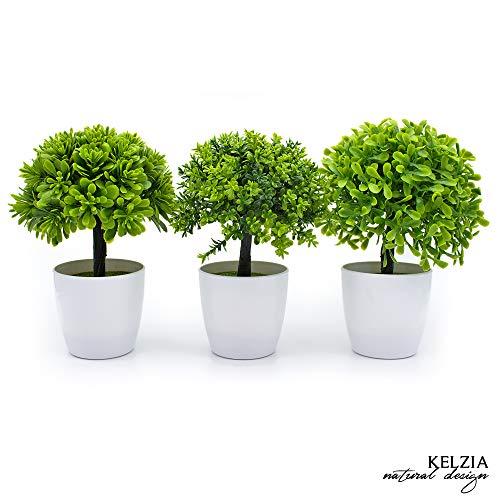 KELZIA Planta Artificial Decorativa-1 Maceta con Decoraciones de Plantas Falsas -Escritorio de Oficina, Mesa, Ventanas, Repisas, Chimenea, Estanteria - Regalo de Decoración(3 Arboles)