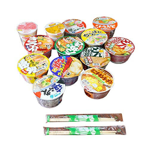 Japanese Cup Noodles Mini Cup Lucky Assortment SET with 2 Chopsticks Ramen Udon Soba Champon (5...