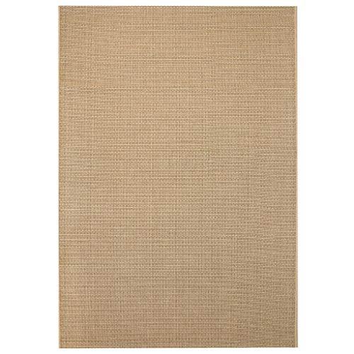 Tidyard Tappeto da Interni/Esterni Effetto Sisal 80x150 cm Beige,A Tessitura Piatta