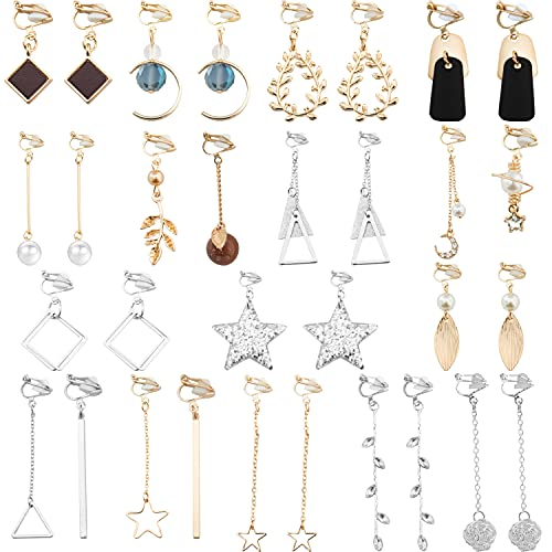 NEWITIN 16 Pairs Clip On Earrings Multiple Cute Earrings Fashion Earrings for Women