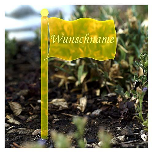 Bütic GmbH Acrylglas Pflanzschilder Fahne Neonorange transparent fluoreszierend - Gartenstecker, Kräuterschilder, Pflanzenstecker, Pflanzenname:Knoblauch