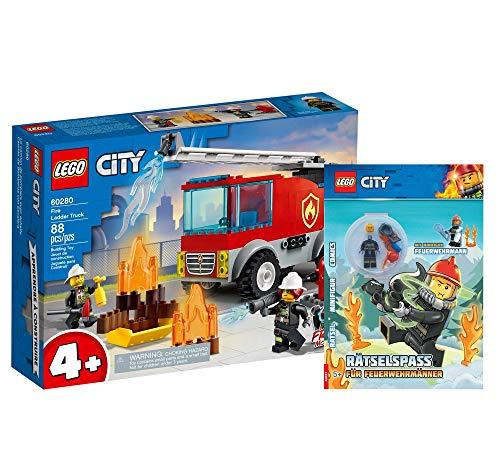 Collectix Lego City Set – Lego City auto dei vigili del fuoco (60280) + Rätselself per pompieri (copertura morbida), set regalo a partire dai 4 anni
