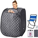 2L Home Steam Sauna Portable Personal Sauna Tent Folding Indoor Sauna Spa Weight Loss Detox with Remote Control, Timer, Foldable Chair (Grey)