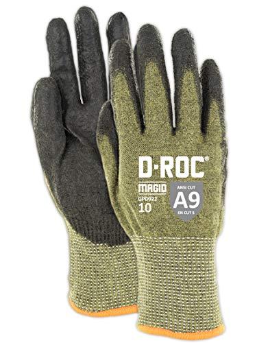 Magid Glove & Safety Magid D-ROC Lightweight Aramid Blend Polyurethane Palm Coated Work Gloves – Cut Level A9 (1 Pair), 9/L