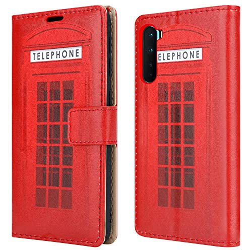 For OnePlus Nord Leather Phone Case, Magnetic Closure Full Protection Book Wallet Design, Flip Wallet Case Cover With [Card Slots] and [Kickstand] + Screen Guard For OnePlus Nord - Telephone Booth