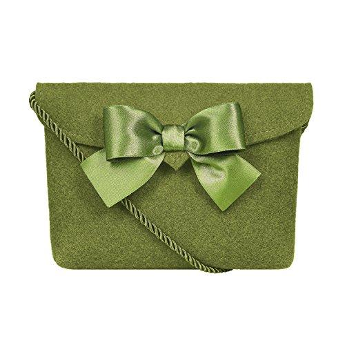 Almbock Trachten-Tasche Lilly in grün moosgrün - Trachtentasche handmade, handgemacht, aus 100% echtem Wollfilz, Tasche mit Schleife