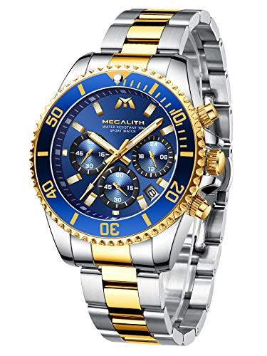 MEGALITH Orologio Uomo Orologio Militare Acciaio Cronografo Impermeabile...