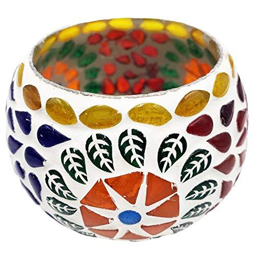 Snadi Pack x 3 - Portavelas Decoracion Vaso de Cristal. Decoracion Hindu para el hogar/Oficina. Porta Velas Decorado artesanalmente con Cuentas de Cristal de Colores y cerámica Blanca.