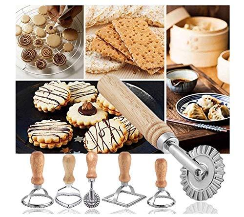 Chana Teig gesetzt 6 Stück Ravioli Stempel Set, mit Holzgriff und Geriffelter Kante Pasta Nudel Press, für Ravioli,Pasta, Lasagne, Knödel, Verschiedene Formen