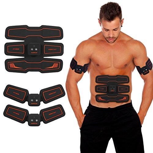 HURRISE EMS Electroestimulador Muscular Abdominales Cinturón, Entrenador de Abdominales Cinturón tonificador del Abdomen/Cintura/Pierna/Brazo 6 Modos