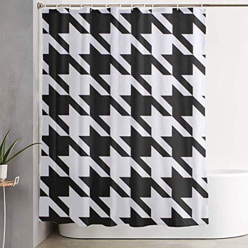 ngquzhe Hahnentritt schwarz Duschvorhang Polyester Stoff wasserdicht Badezimmer Dekor Set waschbar mit 12 Haken, 60 x 70 Zoll