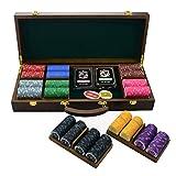 ANBO Set di fiches da Poker, 500 Pezzi di fiches in Ceramica da Casinò Set da Poker con Scatola in Legno massello Set da Gioco Squisito per Texas Hold'em e Blackjack