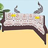 FAB NATION NET Polyester L Shape Sofa Covers, Brown - Pack of 12