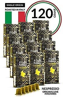 Il Caffé Italiano Coffee, Capsules Compatible with Nespresso OriginalLine, Certified Genuine Single Origin Colombia Pack, 120 Espresso Pods, Crafted in Messina, Italy