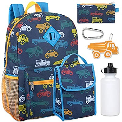 Boy's 6 in 1 Backpack Set With Lunch Bag, Pencil Case, Bottle, Keychain, Clip