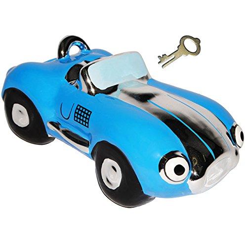 alles-meine.de GmbH Spardose -  Oldtimer / Rennwagen / Auto - BLAU  - mit Schlüssel & Schloß - stabile Sparbüchse aus Porzellan / Keramik - Fahrzeug Sparschwein lustig Führersc..