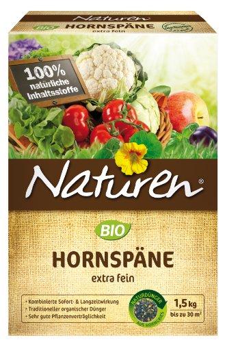 Naturen Bio Hornspäne, Natürlich organischer Stickstoffdünger mit Sofort-und Langzeitwirkung, 1,5 kg