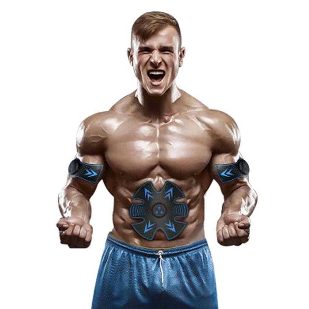飢えビーチつなぐ腹部筋肉ペーストUSB充電スマートフィットネス機器筋力トレーニング器具怠惰な腹部マッサージ器ビルド筋肉 (色 : ブラック)