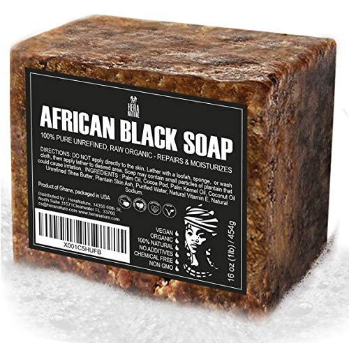 Best Raw ORGANIC AFRICAN BLACK SOAP, for Dry Skin and Skin Conditions. Pure & Natural Ingredients,...