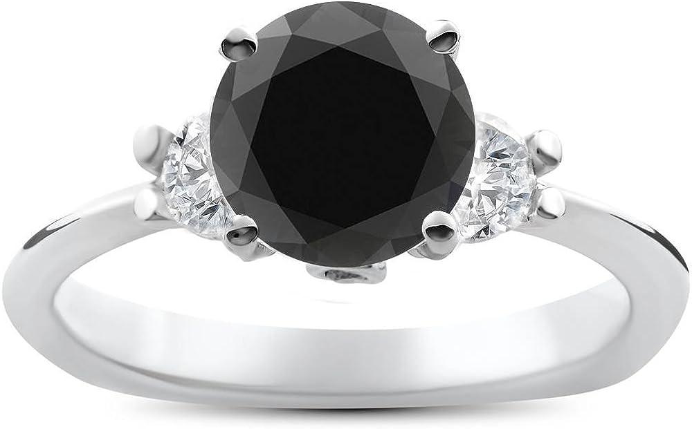 1 3/8ct Black Diamond Engagement Accent Anniversary Ring 14k White Gold