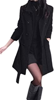Macondoo Womens Mid-Long Wool Blended Double Breasted Winter Pea Coat Jacket
