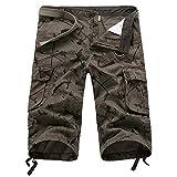 YLBH Pantalones Recortados Pantalones Multibolsillos para Hombres SeñAles De DireccióN Pantalones Sueltos Casuales para Hombres Pantalones Cortos Recortados Leisure Casual Green 31