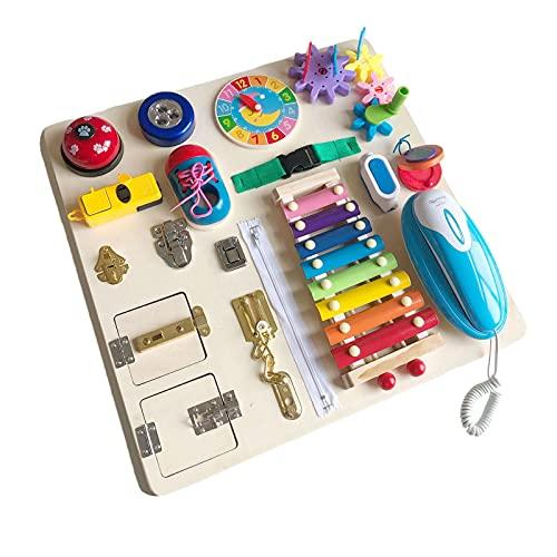 ampusanal Tablero Ocupado para Niños, Habilidades Básicas Juguetes Educativo Temprano Busy-Board para Niños Juguetes Sensoriales Montessori Aprende A Vestir Habilidades Motoras Finas Liberal