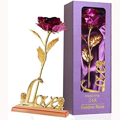 Rosa 24K Chapadas en Oro Flores Artificiales de Rose de Oro Rosa Eterna Flores con Soporte y Caja de Regalo para Novia Esposa Día de San Valentín Día de la Madre Aniversario Boda Cumpleaños Navidad