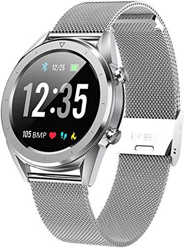 Reloj inteligente para hombre, IP68, impermeable, ECG, monitor de presión arterial, monitor de actividad física, reloj inteligente deportivo, pulsera inteligente de acero plateado