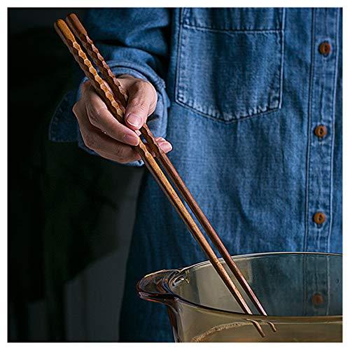 33 cm lange Holzstäbchen zum Kochen, japanische, extra lange, wiederverwendbare Holzstäbchen, rutschfest für Hot Pot, Nudeln, Frittieren, Kochen, Rührei, 5 Paar-B
