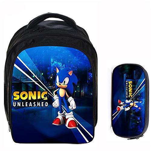 Mochila de anime 2 piezas pulgadas Sonic Boom the Hedgehog niños niñas mochilas escolares niños mochila niños dibujos animados Mochila conjuntos de bolsas de lápices