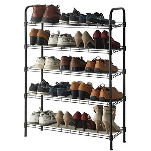 Zapatera Cinco sencilla capa de zapatero Fácil de montar zapatos Estante de almacenamiento de ahorro de espacio Unidad Puerta de entrada de metal duradero Zapatos Estante Zapatero ( Color : Black )