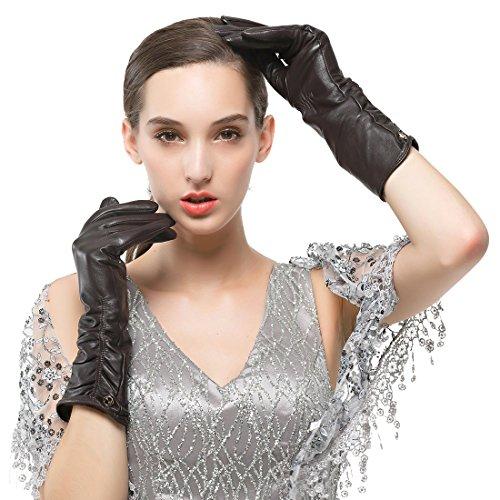 Nappaglo Damen Italienisches Lammfell Leder Handschuhe Winter Warm Langes Fleecefutter Handschuhe (M (Umfang der Handfläche:17.8-19.0cm), Dunkelbraun(Non-Touchscreen))