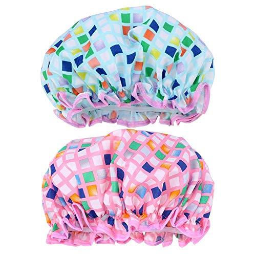 SHUHUAN 2Pcs Waterproof Beautiful Cap Bath Hat Shower Cap Shower Hat for Lady Woman Girl