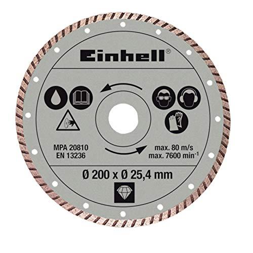 Original Einhell Diamant-Trennschscheibe (Radial-Fliesenschneidm-Zubehör, Druchmesser: Ø200 x Ø25,4 mm, 10 cm Schnittbreite, für Nassschnitte)