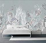 Papel Pintado Fotográfico 400x280 cm - 8 tiras Hojas de plantas de color gris azulado Tipo Fleece no-trenzado XXL Salón Dormitorio Despacho Pasillo Decoración murales decoración de paredes moderna