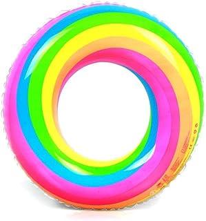YFFSS インフレータブル子供子供水泳リングプール夏のビーチフロート玩具、pvcレインボーインフレータブル水泳リング用大人の肥厚フロート救命浮輪プールパーティーのおもちゃ