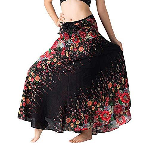 Mujer Falda Larga Verano Retro Talla Grande Vestido de Estampado Floral de Gasa, Dragon868 Cintura Ajustada Bohemia Gitana Elástico Halter Vestidos Camisolas y Pareos de Playa